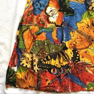 We Be Bop Skirts - Butterfly Print Rayon Elastic Waist Skirt SzL $11